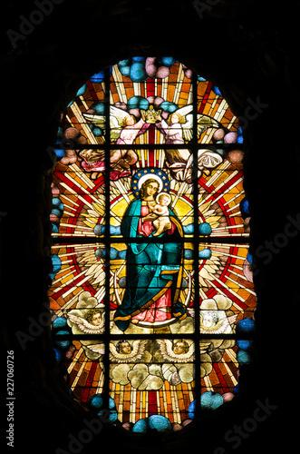 Fotografie, Obraz Witraż Matki Bożej w Archikatedrze Gdańskiej
