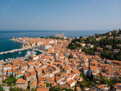 Foto op Canvas Europa Aerial view of old town Piran. Splendid summer day on Adriatic Sea. Beautiful cityscape of Slovenia, Europe. Traveling concept background. Magnificent Mediterranean landscape.