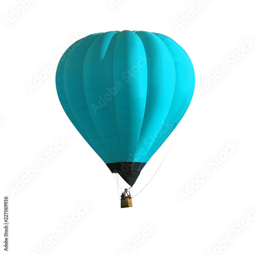 Blue Hot air balloon isolated