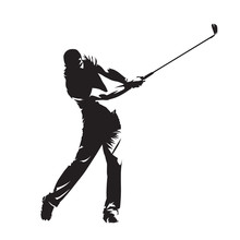 Golf Player, Isolated Vector S...