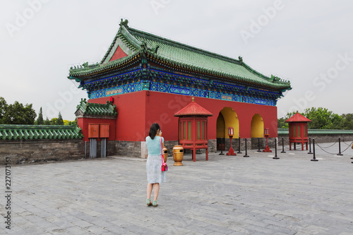 Tourists visiting the Temple of Heaven in Beijing, China