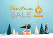 Christmas sale message with little car carrying a Christmas tree