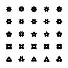 Black Flower Glyphs For Design. Set Of Floral Silhouette Icons..