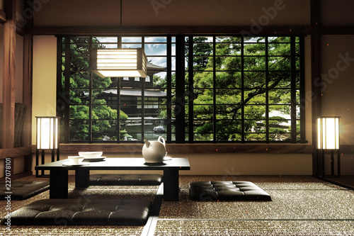 interior design,modern living room with table,lamp,tatami ...