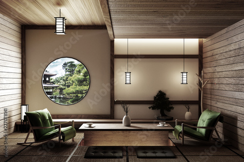 Fotografía Zen style - empty Japanese room with chair,lamp,bonsai tree and tatami mat floor on wall modern wooden window view