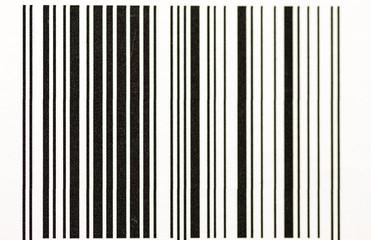 Vertical black and white bar code close up macro shot.