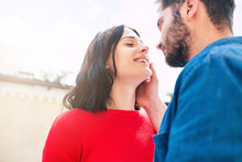 Always Be With You. Beautiful Smiling Couple In Love Are Walking Together. Woman And Man Are Hugging, Kissing And Have A Fun Together In Park Outdoors