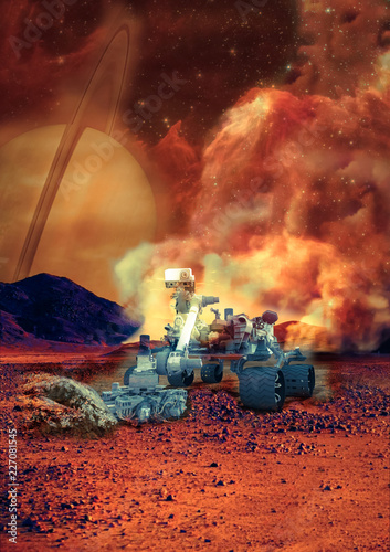 Rover on the Mars. Collage. Elements of this image furnisfurnished by NASA.