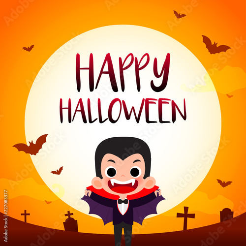 Fotografie, Obraz  Happy Halloween greeting card vector illustration