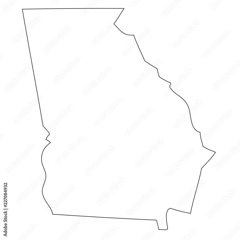 Fototapety, obrazy: Georgia - map state of USA