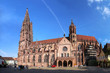 canvas print picture - Freiburg minster without scaffolding on the tower