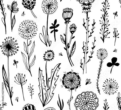 wzor-z-czarnymi-kwiatami-doodle