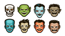 Funny Monsters Set. Halloween Concept. Cartoon Vector Illustration