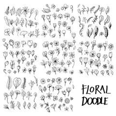 Set vektorskih cvjetnih doodle crteža ikona kolekcije na bijeloj pozadini eps10