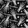 Halloween monochrome seamless pattern with bones and stars.Holiday vector black and white background.Textile texture