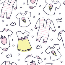 Baby Shower Seamless Pattern Of Baby Girl Clothes