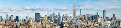 In de dag New York City New York Skyline Panorama mit Empire State Building, USA