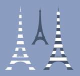Fototapeta Fototapety z wieżą Eiffla - eiffel tower vector design set in vintage style shades of blue and white stripes
