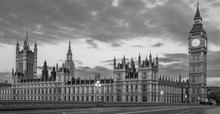 Black And White Panoramic View Of The Houses Of Parliament, Palace Of Westminster And Westminster Bridge. No People, Nobody. Early Morning.
