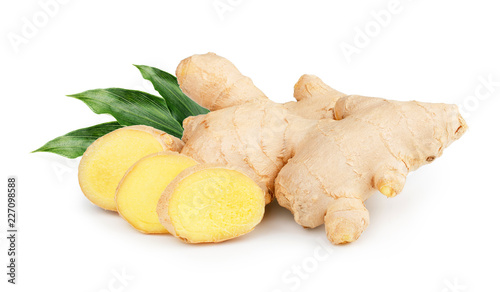 Fototapeta Ginger with leaves Isolated on white background