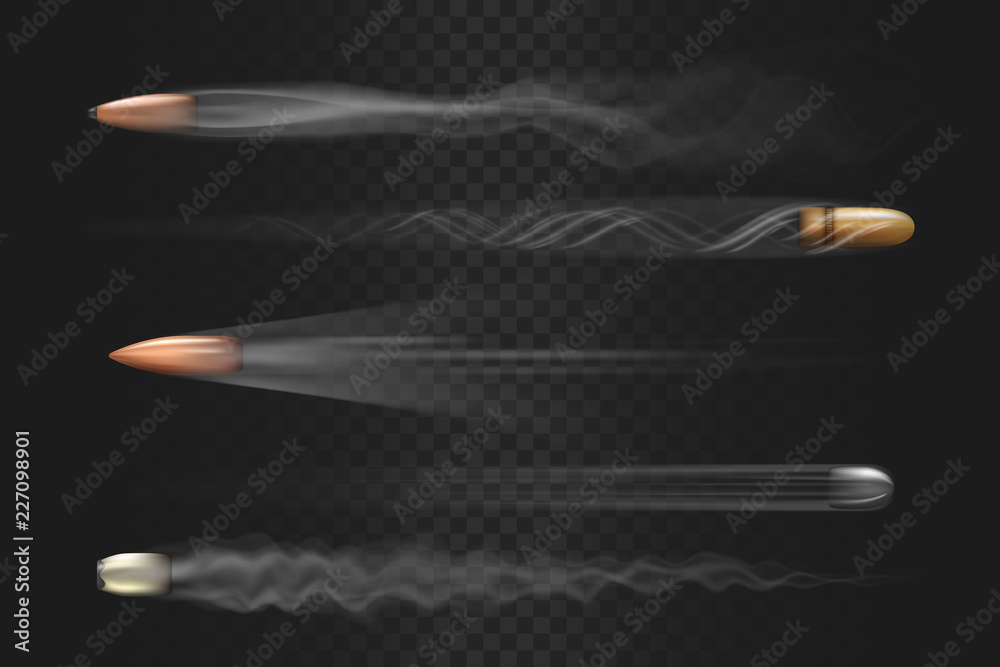 Fototapety, obrazy: Realistic flying bullet with smoke trace isolated on transparent background, a set of fired bullets in motion, various firearm projectiles vector illustrations