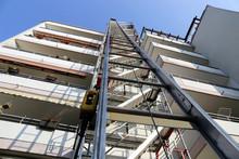 Scaffold With Construction Hoist