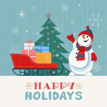 Fancy Seasonal Poster. Cartoon Playful Fun Snowman, Snow Ball. Template For Merry Christmas Winter Season Greeting Card. Holiday Seasonal Cute Flyer Background. New Year Eve Party Vector Illustration