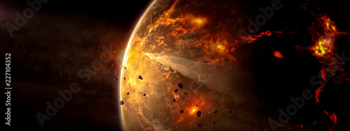 Cuadros en Lienzo Landscape in fantasy alien star flaming with galaxy background