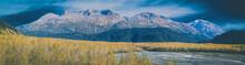 Glacial Plains Of Exit Glacier In Seward Alaska With Kenai Mountains