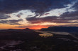 aerial view of sunset over tivat in kotor bay