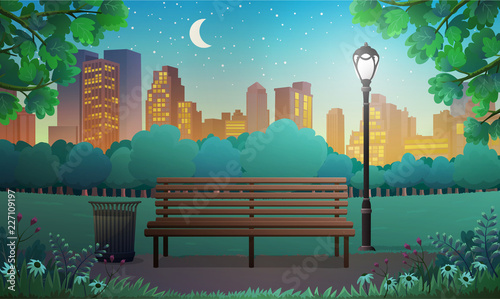 Obraz na płótnie Vector illustration of bench and streetlight in city park with skyscrapers background at night