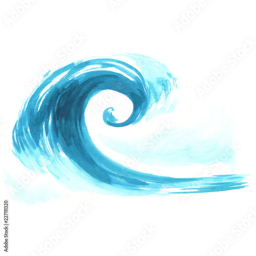 Photo Stands Abstract wave Sea wave. Abstract watercolor hand drawn illustration, Isolated on white background