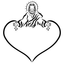 Jesus With A Nimbus In The Form Of The Sun, Drops Falling From The Palms And The Heart