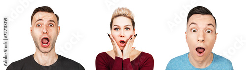 Set of portraits of surprised young people with open mouth isolated on a white background Wallpaper Mural