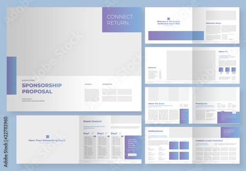 Sponsorship Business Event Proposal Layout With Editable Gradient