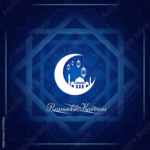 Ramadan Kareem greeting card template islamic morocco pattern