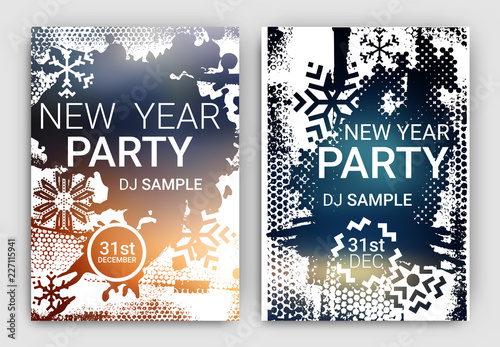 Fotografía  Poster Set for New Year's Eve Party Celebration - Grunge Stylized Snow with geom
