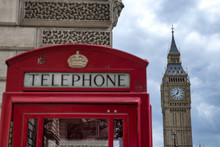 Low Angle View Of Telephone Booth Against Big Ben In City