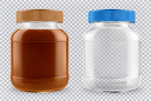 Jar Of Chocolate Spread And Empty Glass Jar. 3d Vector Realistic Mockup
