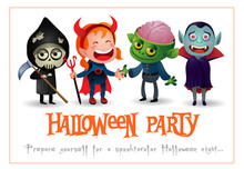 Halloween Party Lettering With Kids In Monster Costumes. Invitation Or Advertising Design. Typed Text, Calligraphy. For Leaflets, Brochures, Invitations, Posters Or Banners.