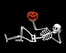 RESTING SKELETON WITH PUMPKIN JACK-O-LANTERN BLACK BACKGROUND