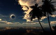 Eclipse in the tropiches, Eclipse of the sun over the sea, seascape,