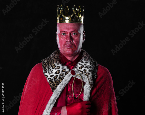 portrait of an ancient king with a crown
