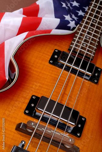 Paul McCartney Beatles Base Rock Guitar US Flag Canvas Print