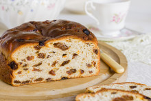 Barmbrack Or Bairin Breac A Traditional Irish Fruit Loaf Made With Sultanas And Raisins Often Eaten Buttered For Afternoon Tea And Traditionally Served At Halloween