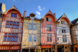 Visit card of Troyes with colourful houses in old city, France