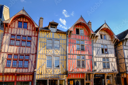 Valokuvatapetti Visit card of Troyes with colourful houses in old city, France