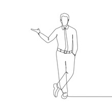 One Line Drawing Of A Man Offer Something. Handsome Male Person Wearing Formal Clothing And Tie Vector Illustration.