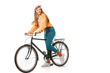 Smiling Beautiful Hipster Girl Sitting On Bicycle Isolated On White