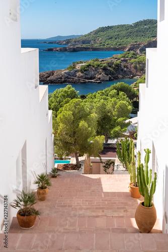Fototapeta Ibiza, typical staircase with view on the sea  obraz